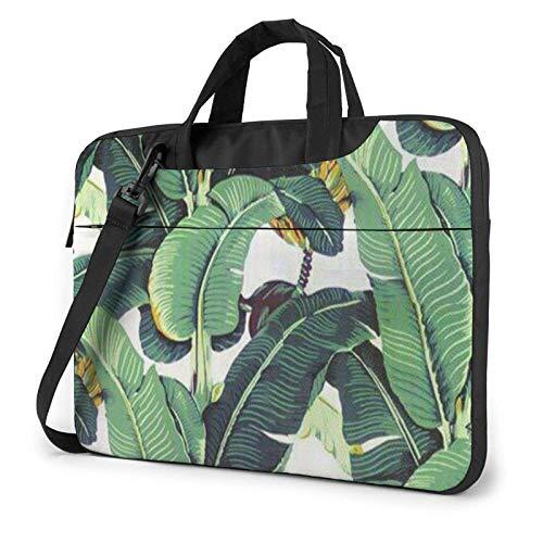 Laptop Shoulder Messenger Bag Tropical Banana Palm Leaves Printed Case Sleeve for 15.6 Inch Laptop Case Laptop Briefcase