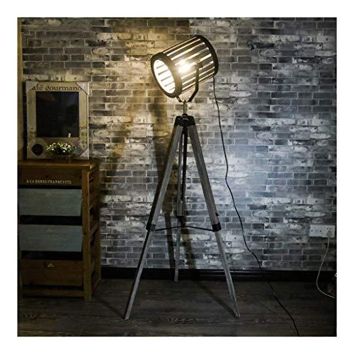 ZRABCD American Industrial Retro Loft Floor Lamp Bar Office Living Room Bedroom Bedside Lamp Tripod Wooden Led Standing Lamp,Black