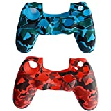 BFU Silicone PS4 Controller Cover Skin Protector Kits, Case for Sony PlayStation 4 Controller, Set of 2, (Red, Blue)