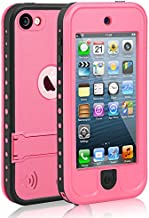 Waterproof Case for iPod 5 iPod 6 iPod 7, Meritcase Waterproof Shockproof Dirtproof Snowproof Case Cover with Kickstand for Apple iPod Touch 5th/6th/7th Generation for Snorkeling Swimming Diving(Pink)