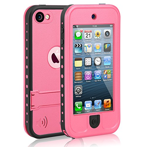 Waterproof Case for iPod 5 iPod 6 iPod 7 Meritcase Waterproof Shockproof Dirtproof Snowproof Case Cover with Kickstand for Apple iPod Touch 5th/6th/7th Generation for Snorkeling Swimming DivingPink