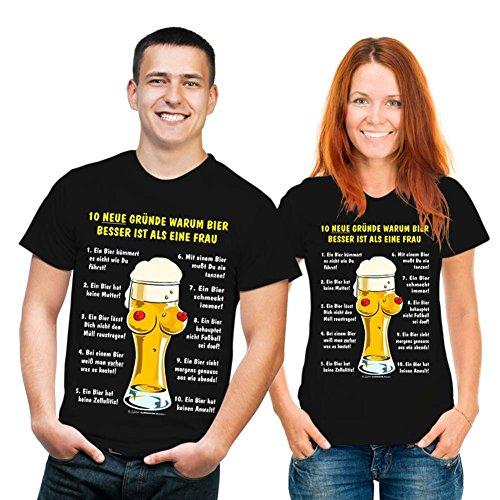 RAHMENLOS witziges Sprüche Tshirt 10 Gründe, Warum Bier Besser ist als eine Frau schwarz