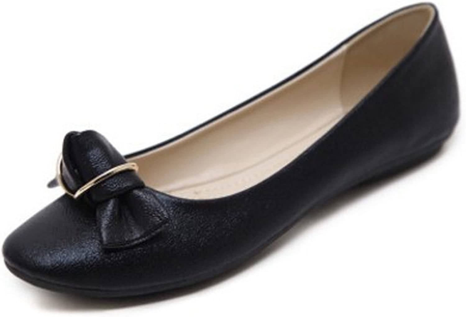 T-JULY Women's Flats shoes Knot Front Comfortable Round Toe Dress Slip On