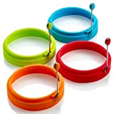 [LASTING QUALITY] ▲100% Food grade, ▲BPA Free. ▲ Safe, healthy & Eco Friendly. ▲High-grade stainless steel handles. 4pcs with 4 exciting color. [SILICONE EGG RINGS HEAT RESISTANCE] - 40 to 446F/230 degree celsius. and the unique design with stay-cool...