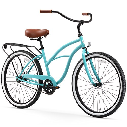 """sixthreezero Around The Block Women's Single-Speed Beach Cruiser Bicycle, 26"""" Wheels, Teal Blue with Brown Seat and Grips"""