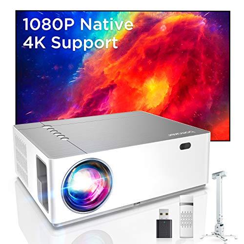 Bomaker UHD 4K Beamer, 7200 Native Full HD 1080P LED Beamer, 300 inch Display, Zoom ±50°Elektronische Korrektur, 3D+5D tageslicht Beamer, unterstützt TV Stick, Ps4, dual HDMI, Gaming/ Film-Projektor
