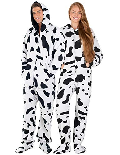 "Footed Pajamas - Cowhide Adult Hoodie Fleece Onesie - Adult - Small2X/Dbl Wide (Fits 5'3-5'6"")"
