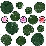 Jubaopen 12PCS Hojas de Flores de Agua Acuario Decoración Loto Artificial Lirios Artificiales con 3PCS Acuario Flores Artificial Plants para Día de San Valentín Piscina Estanque jardín (3Colores)