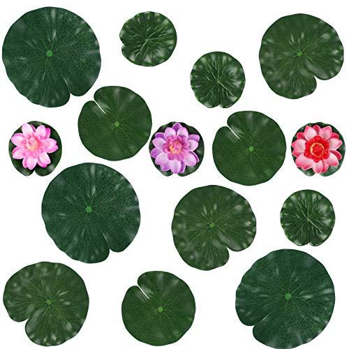 Jubaopen Fleur de Lotus Artificielle Mousse Flottante Plante en EVA 3 Pcs Nénuphar Artificiel Flottant Lotus avec 12 Pcs Feuille de Lotus Flottante pour Décoration de Bassin Aquarium Jardin