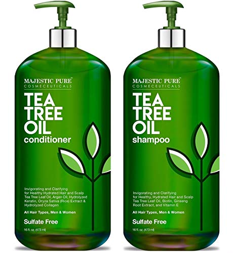 MAJESTIC PURE Tea Tree Shampoo and Conditioner Set for Men and Women -16 fl oz each - Hydrating and...