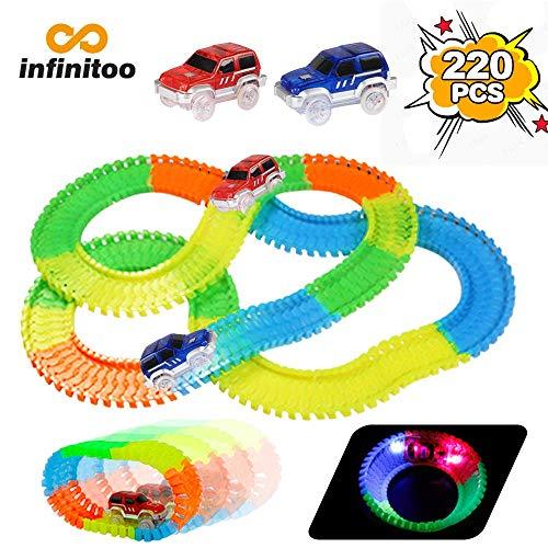 infinitoo Track Cars Pista Macchinine Luminosa Pista Flessibile 220 Pezzi ( 3.3 m) con 2 Cars Pista Gioco Magia Serie di Auto da Corsa Giocattolo Fluorescente Regalo per Bambini 3anni