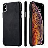 TOOVREN iPhone X Case, iPhone Xs/10 Case Genuine Leather Cover Protective Ultra Thin Anti-Slip Vintage Shell Hard Back Cover for Apple iPhone X/Xs 5.8'' (2018) Black