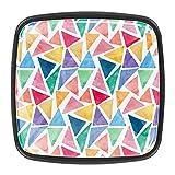 Perillas de cajones con patrón de triángulos coloridos para armarios de cocina de 1,18 pulgadas (4 unidades)