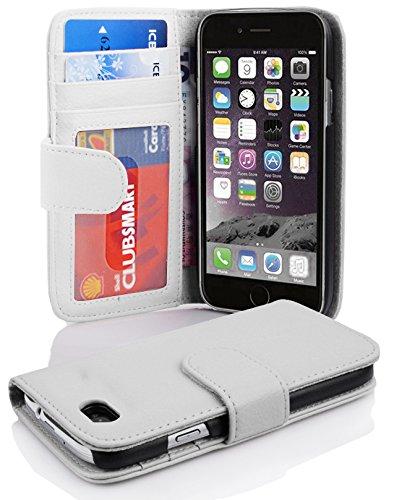Cadorabo Hülle für Apple iPhone 6 / iPhone 6S in Magnesium WEIß – Handyhülle mit Magnetverschluss und 3 Kartenfächern – Case Cover Schutzhülle Etui Tasche Book Klapp Style