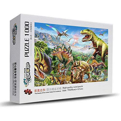1000 Stück Holzpuzzle Kinder Anime Puzzle Jungen und Mädchen Geschenk Spaß Dekompression Landschaft-1000 Dino Valley