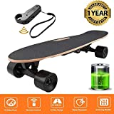Oppikle Électrique Skateboard Longboard Skateboard avec Télécommande sans Fil Bluetooth, Planche Longue 7 Couches de Planche Feuille D'érable Solide, Vitesse Maximale 20 km/h (Noir)