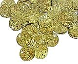 100 cuentas de metal con forma de moneda otomana Tugra de lentejuelas, 15 mm, para cinturones, joyas para el pelo, joyas orientales, tocado para danza del vientre (dorado)