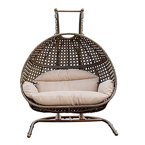 QILIYING Muebles de Exterior Muebles de jardín de Doble Asiento de jardín Rattan Patio Swings Cuelga Silla de Huevo con Soporte (Color : Bronze+Beige)