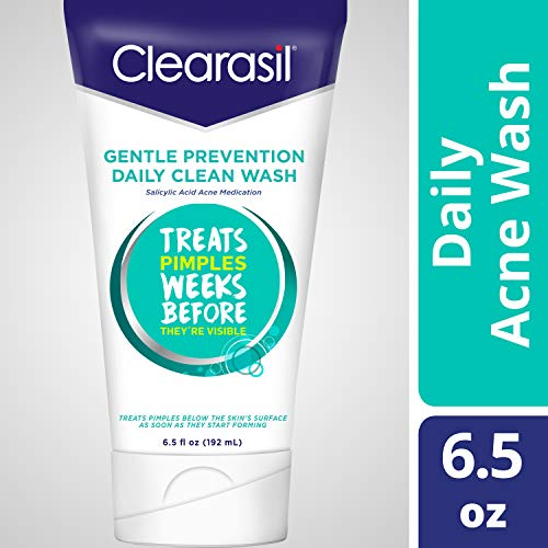 Clearasil Gentle Prevention Daily Clean Wash- Medicated Salicylic Acid Acne Treatment. Cleanser To Treat Pimples Under The Skin Weeks Before They're Visible So They Don't Appear, 6.5 oz. (Pack of 3)