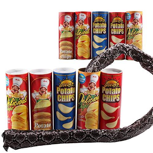Ndier 1 PCS Tricky Toys Serpiente de Patata Chip Puede Saltar Falsa Serpiente Broma Broma Tonto Juguete de Halloween del día del Juguete (Color al Azar)