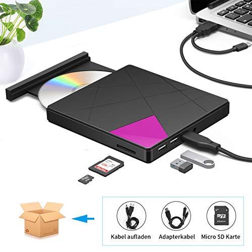 Externes CD DVD Laufwerk, Cocopa Tragbarer Typ-C USB 3.0 Slim CD DVD RW Brenner SD Karte Reader Super Laufwerk Hohe Datenübertragung für Laptop, Desktop Mac, iOS, Windows 10/8/7, XP/Linux