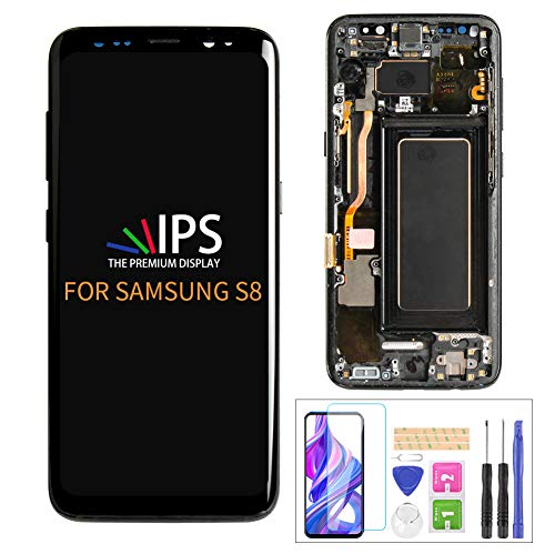 A-MIND for Samsung Galaxy S8 G950 G950A G950F G950P G950R4 T U V W 5.8inch Screen Replacement with Frame 【Original AMOLED】 Touch Digitizer LCD Display Assembly,Screen Protector+Tools (Black Frame)