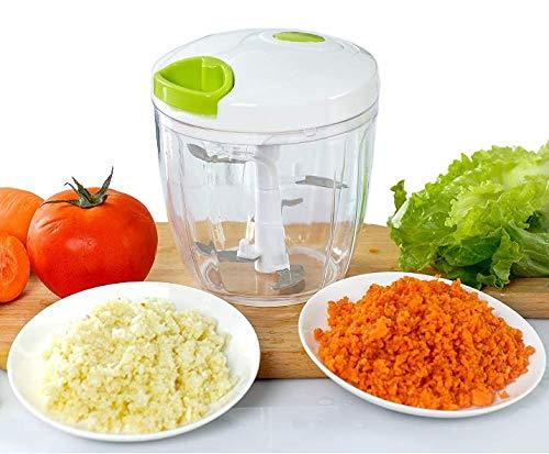 Appetit Gourmet Picadora de Verduras Picadora de Verduras Manual con 5 Cuchillas Inoxidables Gran Capacidad 900 ML para Picar Cebolla, Pesto, Perejil, Ajo, Nueces, Alimentos para Bebes 100% Ef