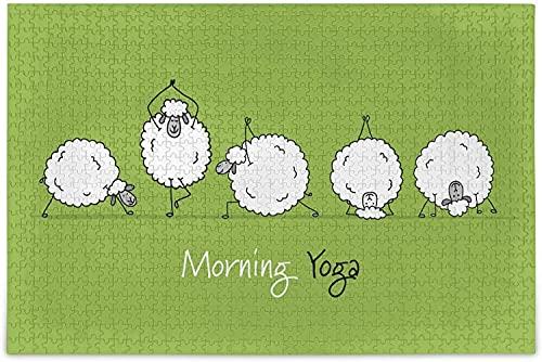 Rompecabezas de 1000 piezas para adultos y niños - Funny Sheep Doing YogaKids Rompecabezas para adultos Rompecabezas de madera de 1000 piezas, educativo, intelectual, de descompresión, divertido jueg