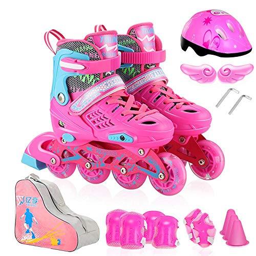 New SSLLPPAA Full Set of Rose Red Eight-Wheel Full Flashing Skates Adult Roller Skates in-line Wheel...