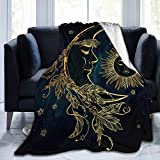 YISHOW Crescent Moon with Feathers and Sun Fleece Throw Blanket Plush Soft Throw for Bed Sofa, 80'X60'
