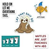 Funny Waterproof Vinyl Sticker Pack for Hydro Flasks, Water Bottles, Laptops, and Phones, Includes'Let That Shit Go' Sloth, Made in US