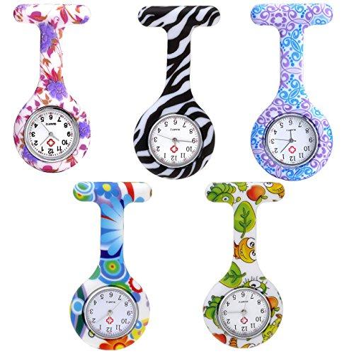 JSDDE Uhren Krankenschwesteruhr Set Pulsuhr FOB Uhr Pflegeruhr Ansteckuhr Silikon Hülle Schwesternuhr Damenuhr Brosche Taschenuhr Analoge Quarzuhr (5 Stück Set (2))