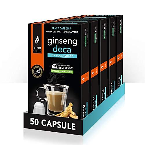 King Cup - 5 Paquetes de 10 Cápsulas Compostable de Ginseng Deca Sin Azúcar, 50 Cápsulas 100% Compatible con el Sistema Nespresso de Bebida con Sabor de Ginseng, Sin Gluten y Sin Lactosa