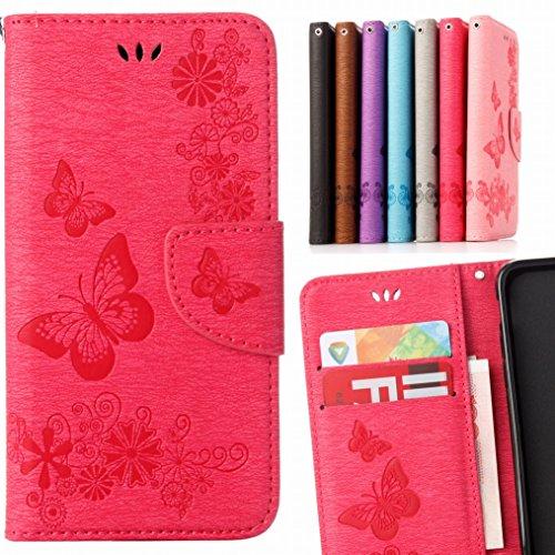 LEMORRY Handyhülle für Sony Xperia E5 Hülle Tasche Ledertasche Flip Beutel Slim Schutz Magnetisch Schließung Stehening SchutzHülle Weich Silikon Cover Schale für Xperia E5, Butterfly Pink