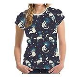 Camiseta ligera y bonita, con estampado de gato para perros, sin costuras, cómoda y de secado rápido, transpirable, manga corta, para mujer Yq57 M