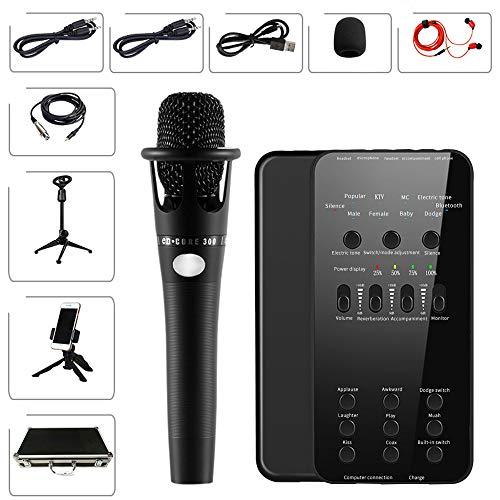 Alfun Bluetooth Mesa de Mezclas Microfono Condensador Kit USB Mesa Sonido E6 Mezclador Mixer Sonido (Set 2)