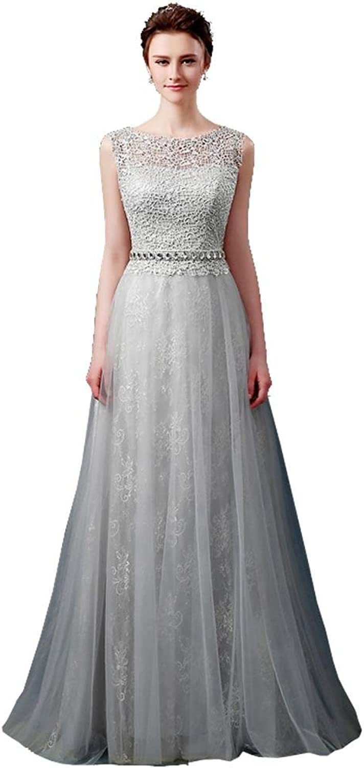 BeautyEmily Long O Neck ALine Sleeveless Lace Rhinestone Evening Dress