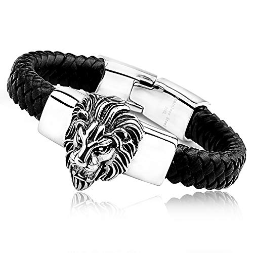 Granny Chic Mens Large Braided Leather Bracelet with Stainless Steel Lion and Black Genuine Leather Straps(Silver)