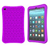 TeeFity Silicone Case for All-New Fire 7 2019 Tablet- [The Diamond Series] Shockproof Light Weight Protective Kids Case for All-New Fire 7-inch Tablet (9th Generation, 2019 Release), Purple