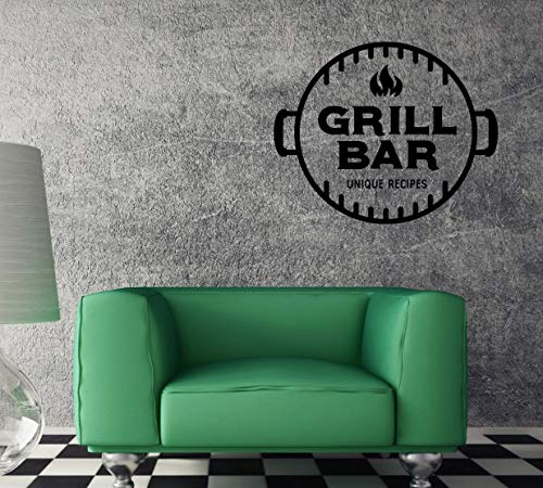 Muursticker grill bar recept snack cafe unieke aftrekplaat caz4759