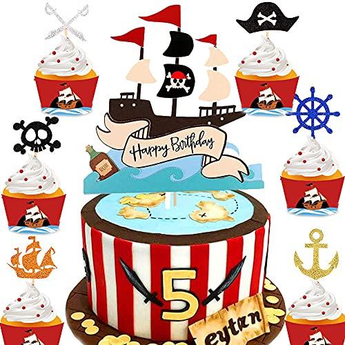 7 Piezas DecoracióN De Pastel Pirata, TemáTica Pirata Halloween Tartas DiseñO De Pirata Para Fiestas De CumpleañOs Infantiles