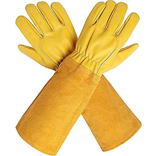 Rosen Gartenhandschuhe mit extra Langen Rindsleder Ärmeln für Männer und Frauen, dornensichere Ziegenleder Handschuhe, Beste Garten Geschenke & Werkzeuge für Gärtner und Landwirt-S
