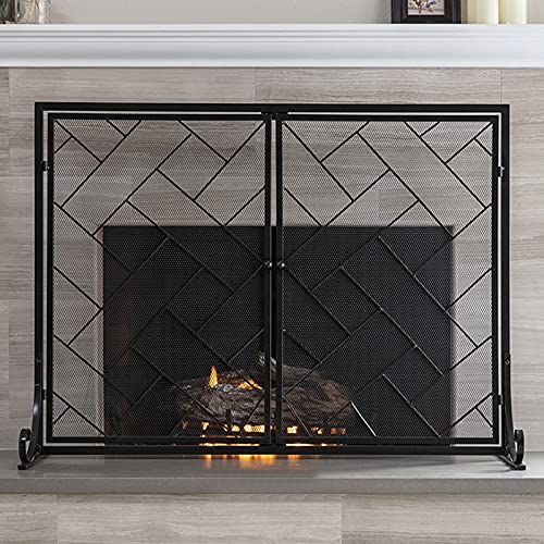 Black Iron Mesh Fireplace Screen with Door, 40 Inch Extra Large Flat Guard Fire Screens for Wood Burning Stove & Babies Safety, Freestanding Spark Guard Panels