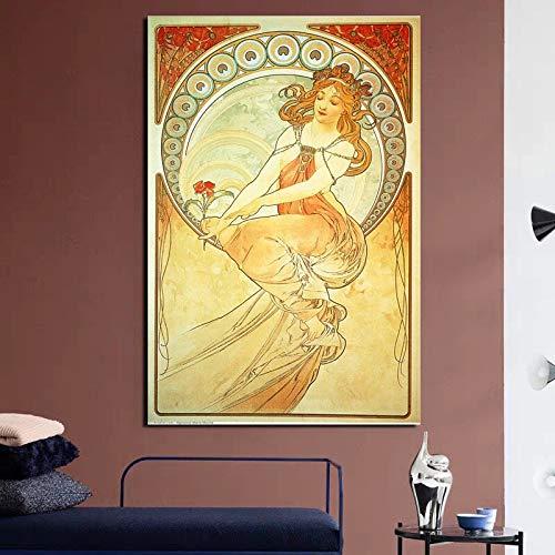 KWzEQ Hübsches Mädchen Kunstplakat druckt Leinwand Wandkunst Moderne Wohnzimmer Hauptdekoration,Rahmenlose Malerei,60x90cm