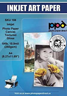 """PPD Inkjet Glossy Canvas Textured Heavyweight Photo Paper A4 (8.27x11.69`` similar to 8.5x11"""") 64lbs. 260gsm 10.9mil x 50 Sheets (PPD-108-50)"""