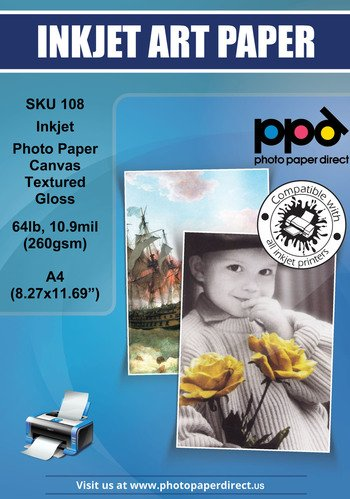 PPD Inkjet Glossy Canvas Textured Heavyweight Photo Paper A4 (8.27x11.69'' similar to 8.5x11') 64lbs. 260gsm 10.9mil x 20 sheets (PPD108-20)
