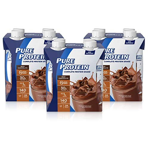 Pure Protein Complete Ready to Drink Shakes, High Protein, Rich Chocolate, 11oz, 12 Count