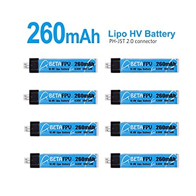 BETAFPV 8pcs 260mAh HV 1S Lipo Battery 30C 3.8V with JST-PH 2.0 Powerwhoop Connector for Tiny Whoop Blade Inductrix