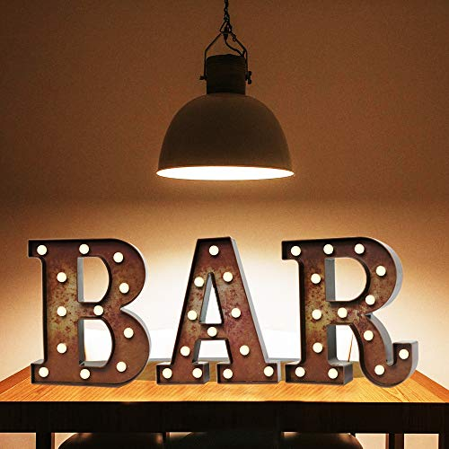 Light Up LED Vintage Bar Letters With Lights – Lighted Illuminated Industrial Marquee Bar Sign Lamp – Night Light for Bar, Pub, Bistro, Party, Wall Decor (Rust BAR)