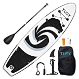 TUSY Inflatable Stand Up Paddleboards 10.6' with SUP Accessories Travel Backpack, Non-Slip Deck Adjustable Paddles, Leash and Fin for Paddling Surf